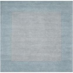 Hand-crafted Light Blue Tone-On-Tone Bordered Wool Rug (9'9 Square)