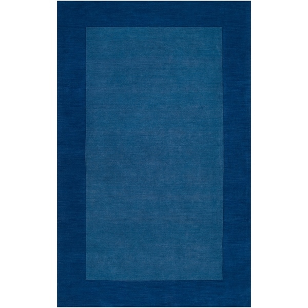 """Hand-crafted Blue Tone-On-Tone Bordered Wool Area Rug - 3'3"""" x 5'3"""""""