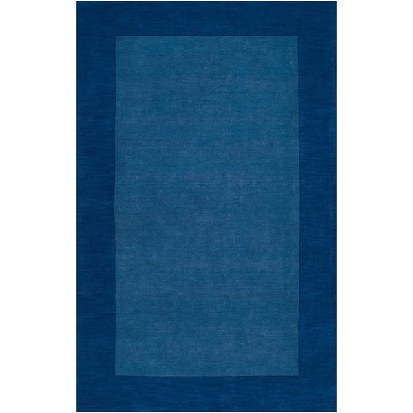 """Hand-crafted Blue Tone-On-Tone Bordered Wool Area Rug - 7'6"""" x 9'6"""""""
