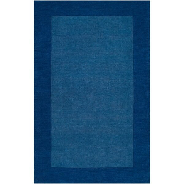 Hand-crafted Blue Tone-On-Tone Bordered Wool Area Rug - 8' x 11'