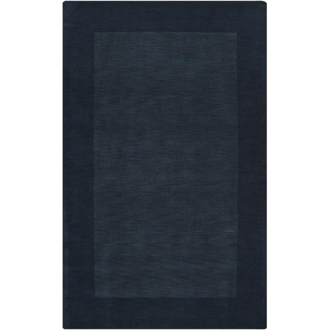 Hand-crafted Navy Blue Tone-On-Tone Bordered Wool Area Rug - 6' x 9'