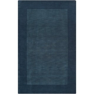 Hand-crafted Navy Blue Tone-On-Tone Bordered Wool Area Rug - 6' x 9'/Surplus