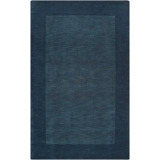 """Hand-crafted Navy Blue Tone-On-Tone Bordered Wool Area Rug - 7'6"""" x 9'6""""/Surplus"""