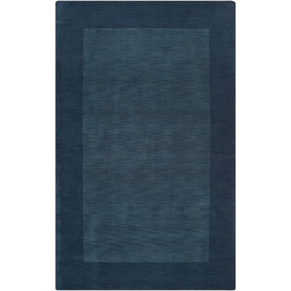 Hand-crafted Navy Blue Tone-On-Tone Bordered Wool Area Rug - 7'6 x 9'6