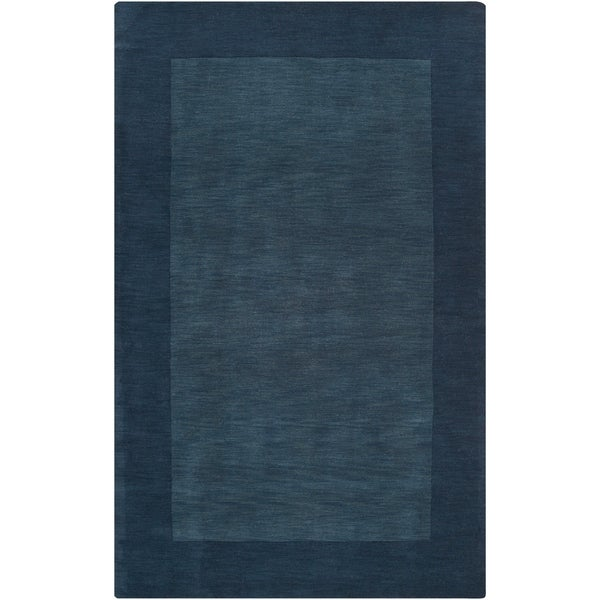 Hand-crafted Navy Blue Tone-On-Tone Bordered Wool Area Rug - 8' X 11'