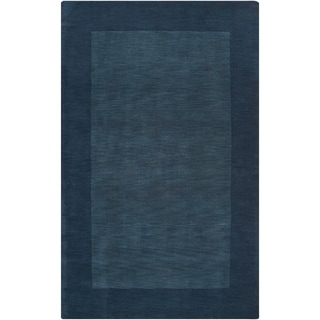 Hand-crafted Navy Blue Tone-On-Tone Bordered Wool Rug (8' x 11')