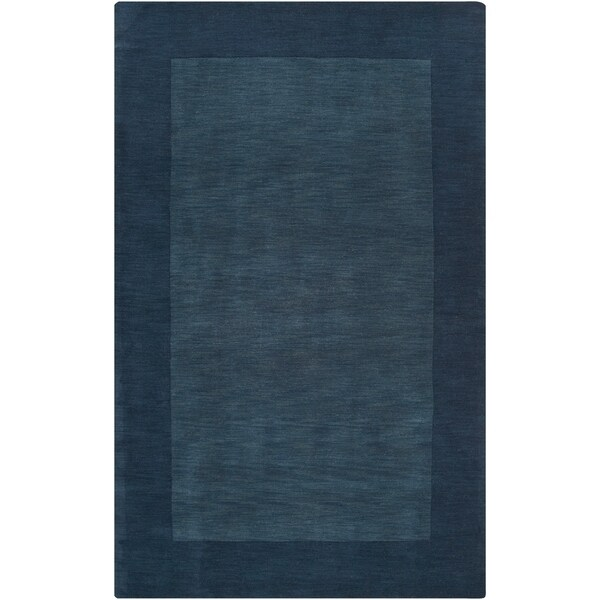 Hand Crafted Navy Blue Tone On Bordered Wool Area Rug 9