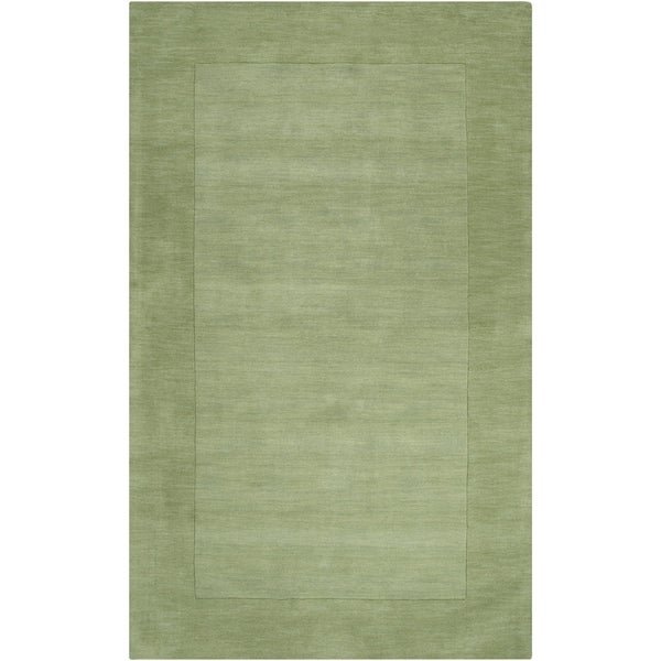 Hand-crafted Moss Green Tone-On-Tone Bordered Wool Area Rug - 6' x 9'
