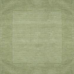 Hand-crafted Moss Green Tone-On-Tone Bordered Wool Rug (6' x 9') - Thumbnail 1