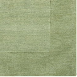 Hand-crafted Moss Green Tone-On-Tone Bordered Wool Rug (6' x 9') - Thumbnail 2