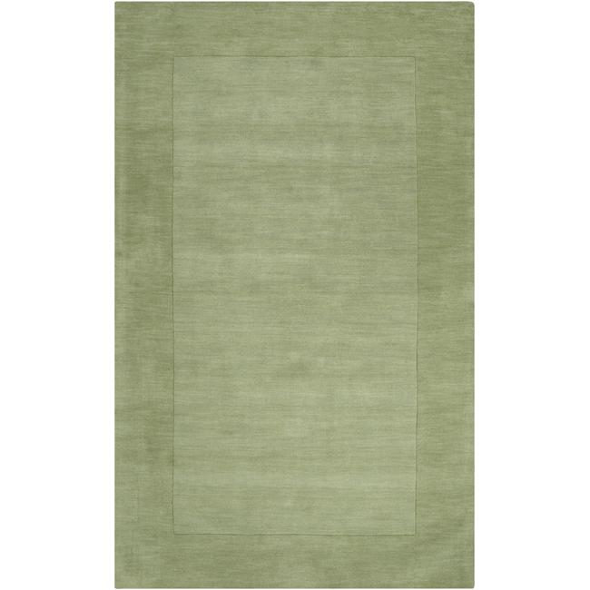 Hand-crafted Moss Green Tone-On-Tone Bordered Wool Area Rug - 7'6 x 9'6