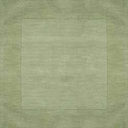 Hand-crafted Moss Green Tone-On-Tone Bordered Wool Rug (7'6 x 9'6)