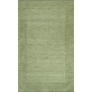Hand-crafted Moss Green Tone-On-Tone Bordered Wool Area Rug - 8' x 11'/Surplus