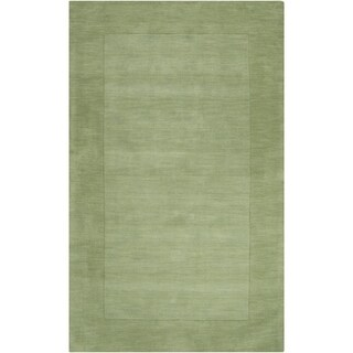 Hand-crafted Moss Green Tone-On-Tone Bordered Wool Area Rug - 9' x 13'/Surplus