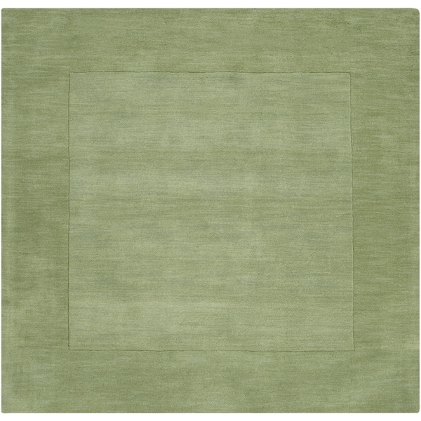 Hand-crafted Moss Green Tone-On-Tone Bordered Wool Area Rug - 9'9 x 9'9