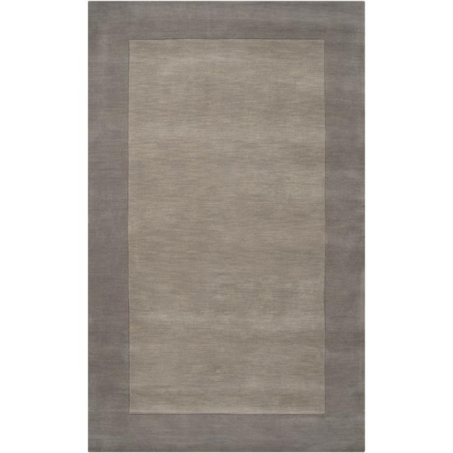 Hand-crafted Grey Tone-On-Tone Bordered Wool Rug (3'3 x 5'3)