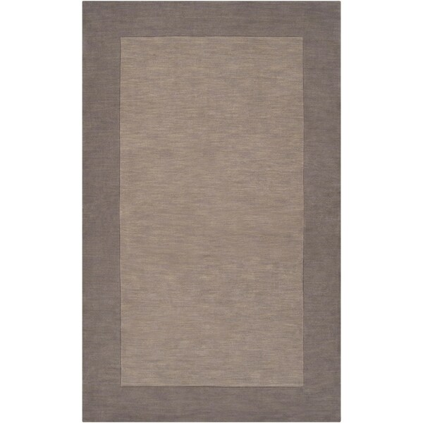 Hand-crafted Grey Tone-On-Tone Bordered Wool Area Rug - 6' x 9'