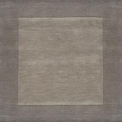 Hand-crafted Grey Tone-On-Tone Bordered Wool Rug (6' x 9') - Thumbnail 1