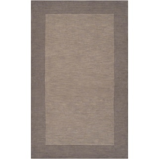 Hand-crafted Grey Tone-On-Tone Bordered Wool Rug (7'6 x 9'6)