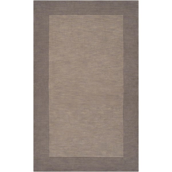 Hand-crafted Grey Tone-On-Tone Bordered Wool Area Rug - 8' x 11'