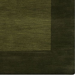 Hand-crafted Green Tone-On-Tone Bordered Wool Rug (5' x 8') - Thumbnail 2