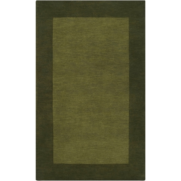 Hand-crafted Green Tone-On-Tone Bordered Wool Area Rug - 6' x 9'