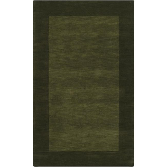 Hand-crafted Green Tone-On-Tone Bordered Wool Area Rug - 8' x 11'