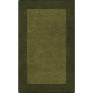 Hand-crafted Green Tone-On-Tone Bordered Wool Area Rug - 8' x 11'/Surplus