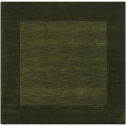 Hand-crafted Green Tone-On-Tone Bordered Wool Rug (8' x 8')