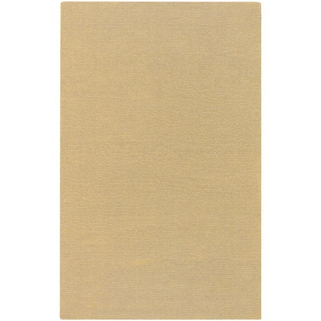 Hand-crafted Solid Beige Casual Ridges Wool Rug (6' x 9')