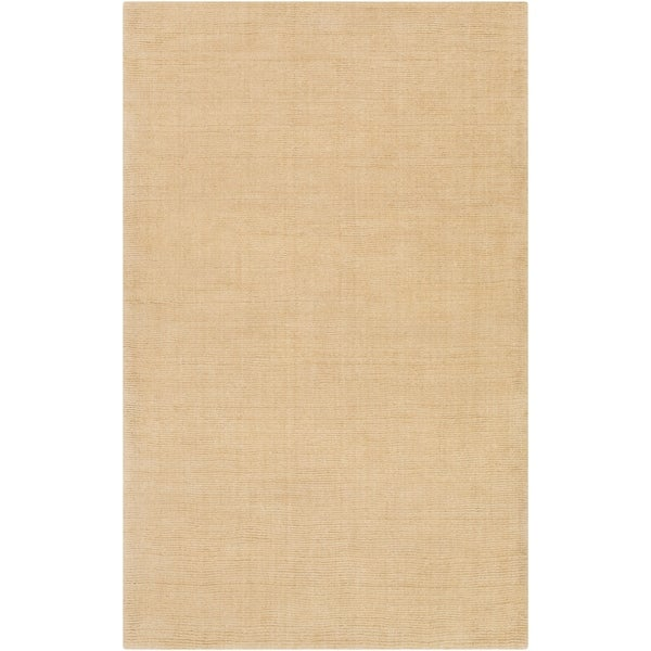 Hand-crafted Solid Beige Casual Ridges Wool Area Rug - 6' x 9'
