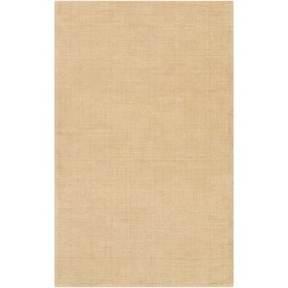 Hand-crafted Solid Beige Casual Ridges Wool Area Rug - 6' x 9'/Surplus