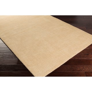 Hand-crafted Solid Beige Casual Ridges Wool Rug (7'6 x 9'6)