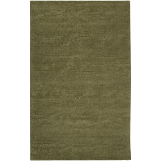Hand-crafted Solid Green Casual Ridges Wool Rug (5' x 8')