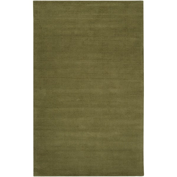 Hand-crafted Solid Green Casual Ridges Wool Area Rug - 8' x 11'