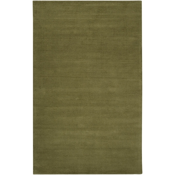 Hand-crafted Solid Green Casual Ridges Wool Area Rug - 9' x 13'