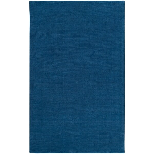 Hand-crafted Solid Blue Causal Ridges Wool Area Rug - 6' x 9'