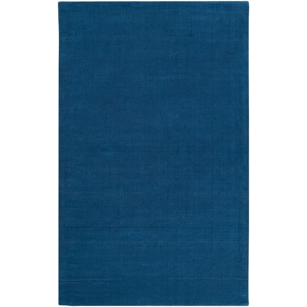 Hand-crafted Solid Blue Causal Ridges Wool Area Rug - 7'6 x 9'6