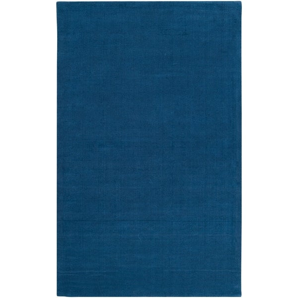 Hand-crafted Solid Blue Causal Ridges Wool Area Rug - 8' X 11'