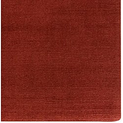 Hand-crafted Rust Red Solid Casual Ridges Wool Rug (12' x 15') - Thumbnail 1