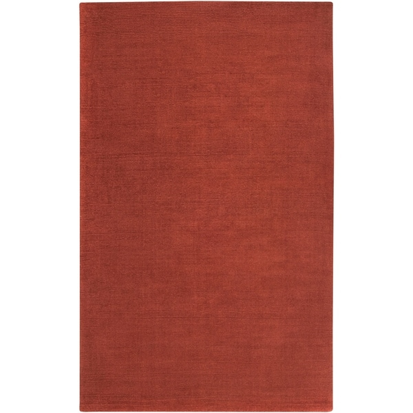 Hand-crafted Rust Red Solid Casual Ridges Wool Area Rug - 5' x 8'