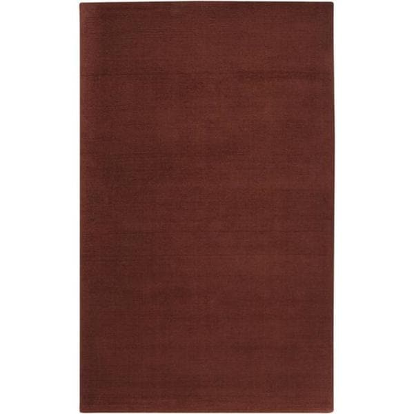 Hand-crafted Rust Red Solid Casual Ridges Wool Rug (6' x 9')