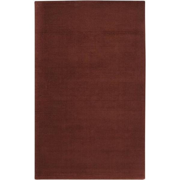 Hand-crafted Rust Red Solid Casual Ridges Wool Area Rug - 6' x 9'