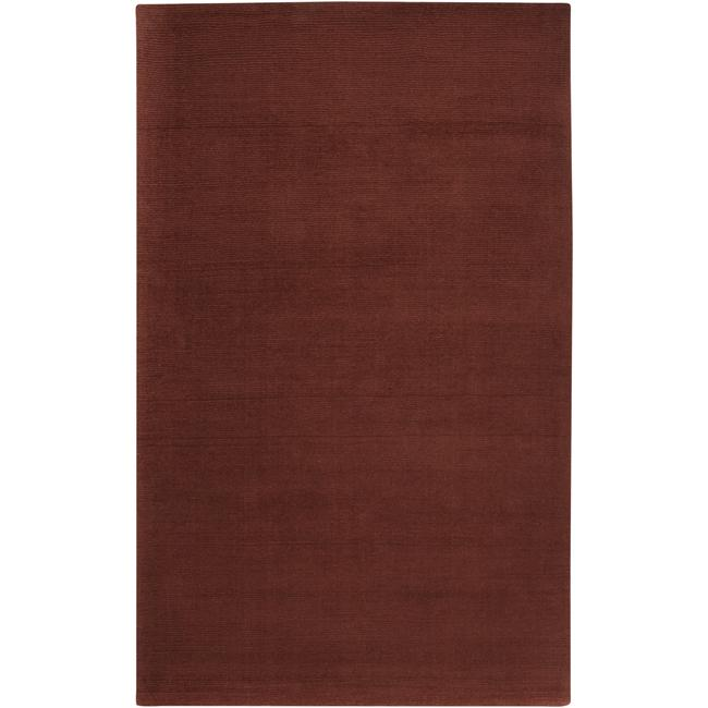 Hand-crafted Rust Red Solid Casual Ridges Wool Rug (7'6 x 9'6)
