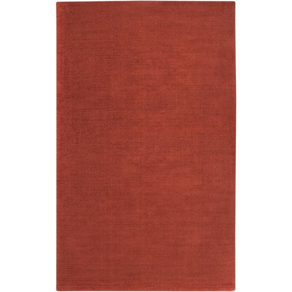Hand-crafted Rust Red Solid Casual Ridges Wool Area Rug - 7'6 x 9'6