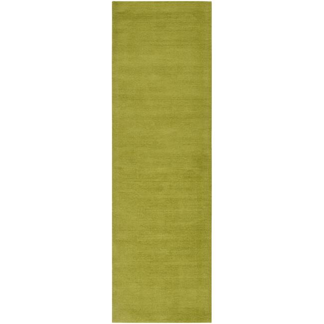 Hand-crafted Moss Green Solid Casual Ridges Wool Rug (2'6 x 8')