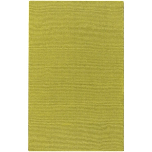 """Hand-crafted Moss Green Solid Casual Ridges Wool Area Rug - 3'3"""" x 5'3"""""""