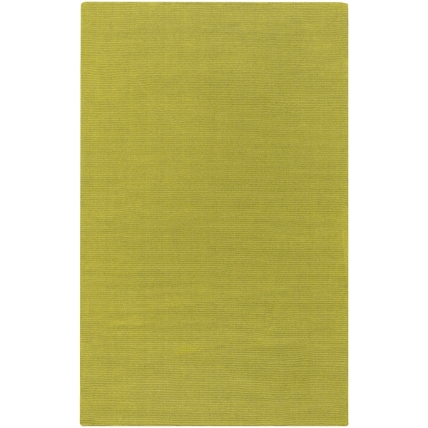 Hand-crafted Moss Green Solid Casual Ridges Wool Area Rug - 6' x 9'