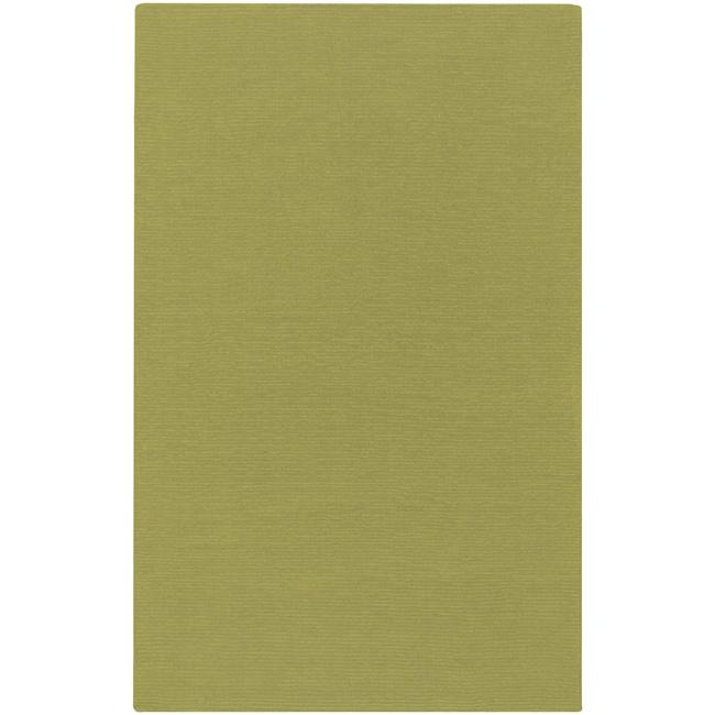 Hand-crafted Moss Green Solid Casual Ridges Wool Area Rug - 7'6 x 9'6