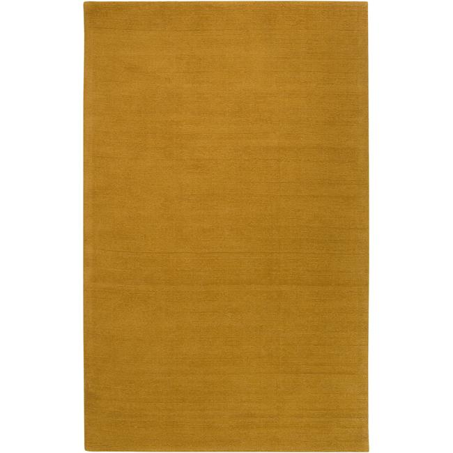 Hand-crafted Yellow Solid Casual Ridges Wool Rug (7'6 X 9'6)
